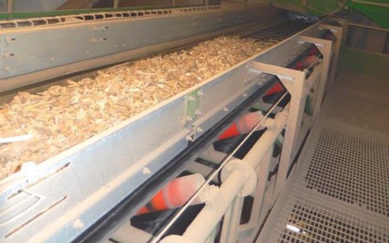 Convoyeur à bande Tecnitude pour le transport de bois broyé - Biomasse