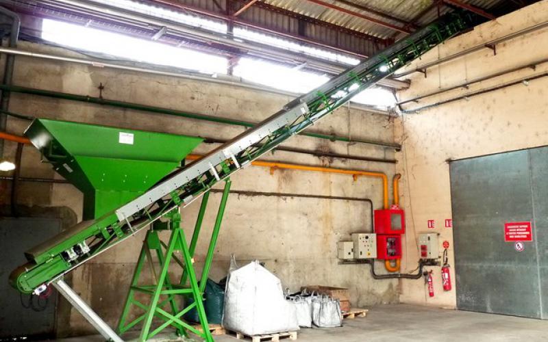 Convoyeur à bande Tecnitude pour l'alimentation d'une chaufferie - Biomasse