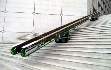 Convoyeur à bande Manubloc sur roues pneumatiques transversales